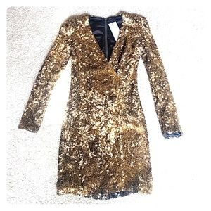 Gold French Connection sequin wrap Samantha dress